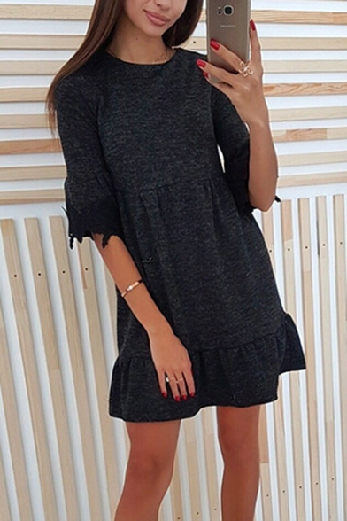 Stylish Black Lace-Trimmed Half-Sleeve Round Neck Mini A-Line Dress