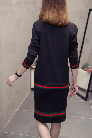 Trendy Blue and Red Striped Trimmed Long Sleeve V-Neck Top Midi Shift Skirt Knitted Co-ords
