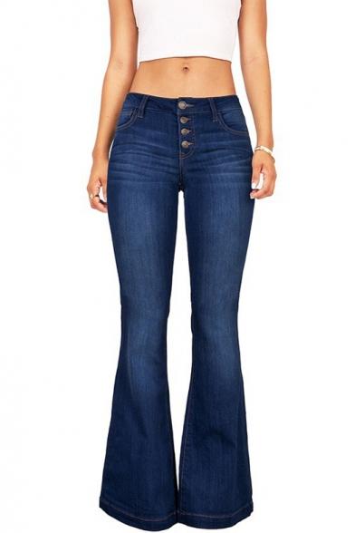 Купить со скидкой Women's Hot Popular Button Down Closure Boot-Cut Dark Blue Jeans