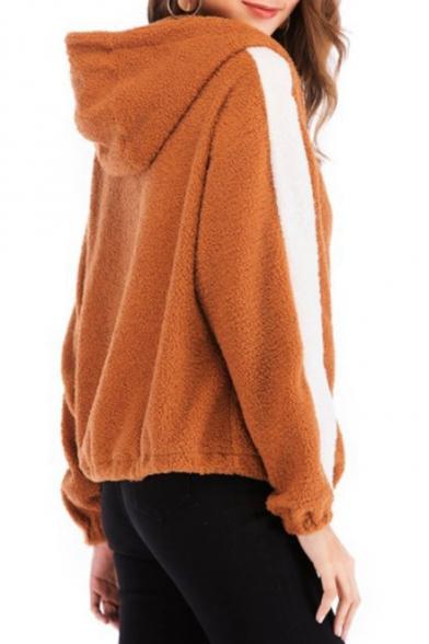 Women Winter Warm Fuzzy Striped Long Sleeve Hooded Zip Up Fleece Coat Camel