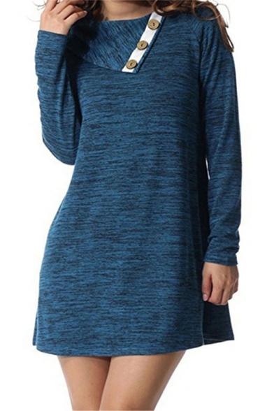 9 Unique Long Sleeve Cowl Neck Button Embellished Contrast Trim Shift Mini Dress