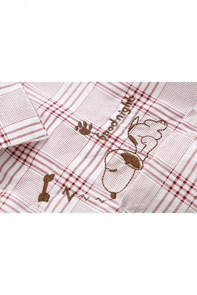 Cartoon Snoopy Printed Long Sleeve Lapel Collar Button Down Shirt
