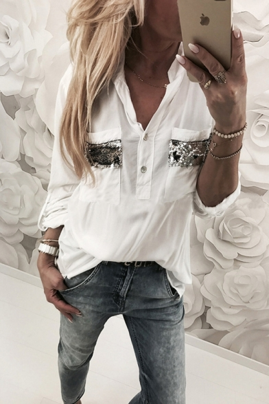 Charming Long Sleeve V Neck Sequined Pockets Button Front White Blouse