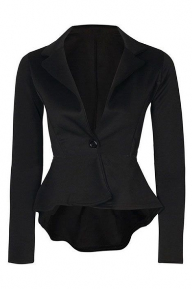 Chic Slim Plan Notched Lapel Collar Single Button Long Sleeve High Low Asymmetric Blazer