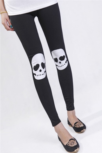 Cotton Classic Elastic Waist Skull Printed Slim Leggings