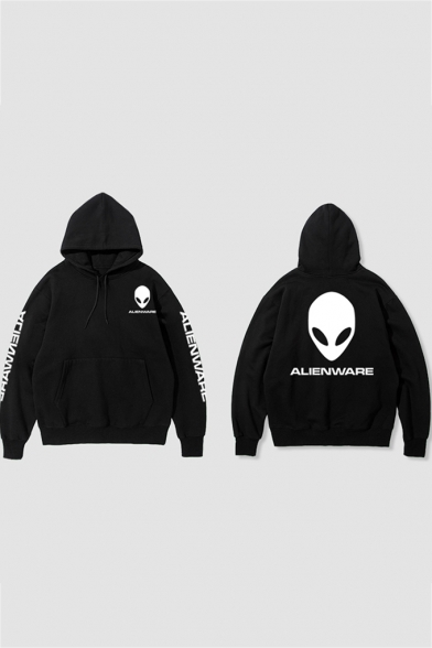 Cotton Long Sleeve Alien Letter Printed Leisure Hoodie