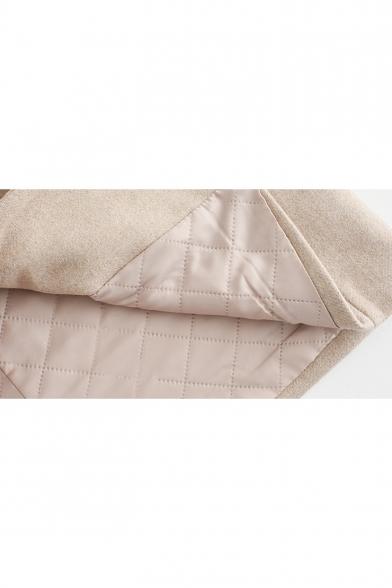 Fresh Long Sleeve Lapel Collar Toggle Tunics Warm Plain Woolen Coat