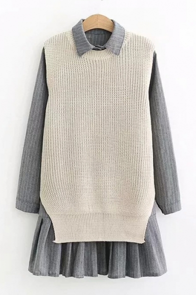 Купить со скидкой Lapel Collar Long Sleeve Stripes Button Front Shirt Dress Knit Sleeveless Kin Vest Sweater Co-ords