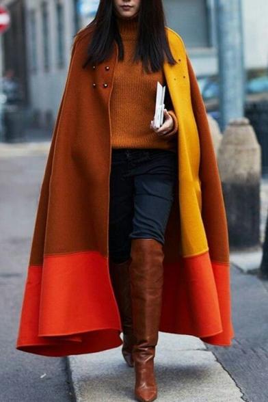 Leisure Winter's New Fashion Colorblock Button Embellished Loose Coffee Cloak Longline Cape