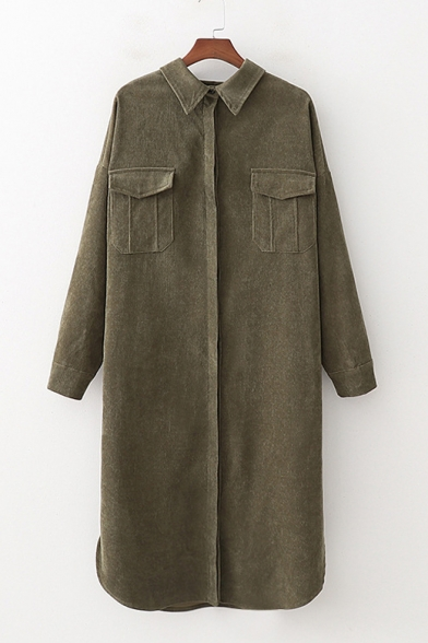 New Trendy Long Sleeve Lapel Collar Plain Green Shift Midi Corduroy Dress