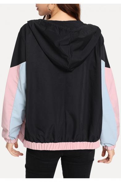 Pink Colorblock Long Sleeve Zip Closure Leisure Hooded Coat