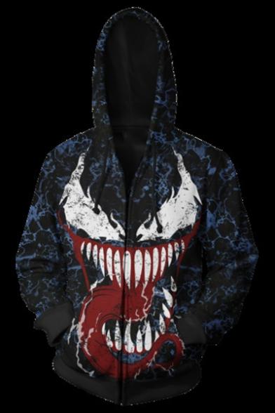 Popular VENOM Big Mouth Tongue Spider Printed Long Sleeve Zip Up Blue Hoodie
