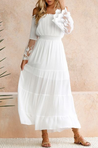 Sexy Hot Fashion Off The Shoulder Long Sleeve Plain Lace Patched A-Line Maxi White Dress