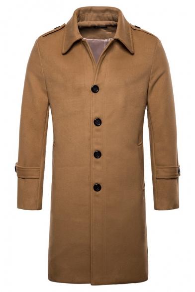 Simple Long Sleeve Lapel Collar Single Breasted Plain Longline Woolen Coat