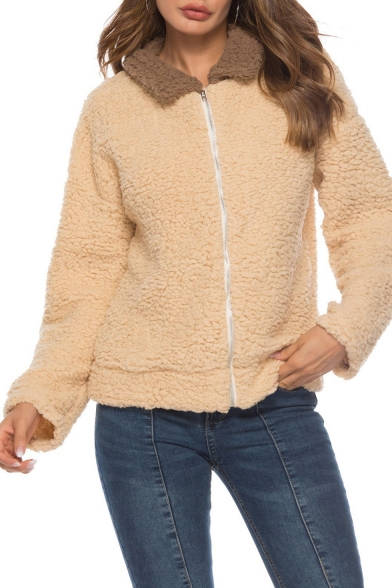 Trendy Contrast Lapel Collar Long Sleeve Zip Up Warm Fluffy Fleece Camel Coat