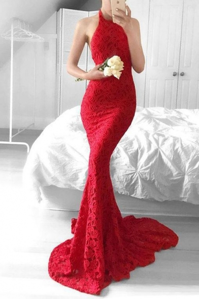Unique Graceful Halter Neck Sexy Open Back Bodycon Red Floor Length Fishtail Evening Dress