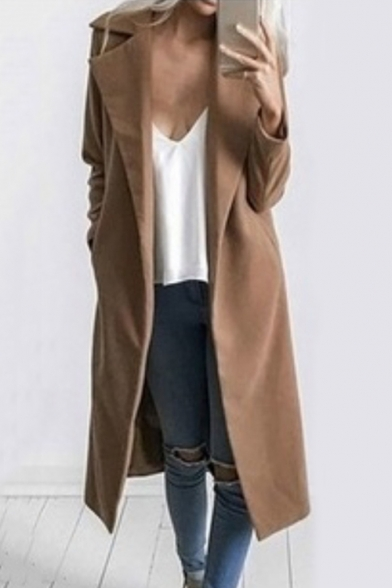 Winter's Classic Notched Lapel Collar Long Sleeve Open Front Solid Woolen Overcoat