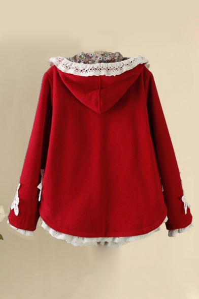 Winter's Long Sleeve Lace Patched Plain Single Breasted Woolen Cape Coat