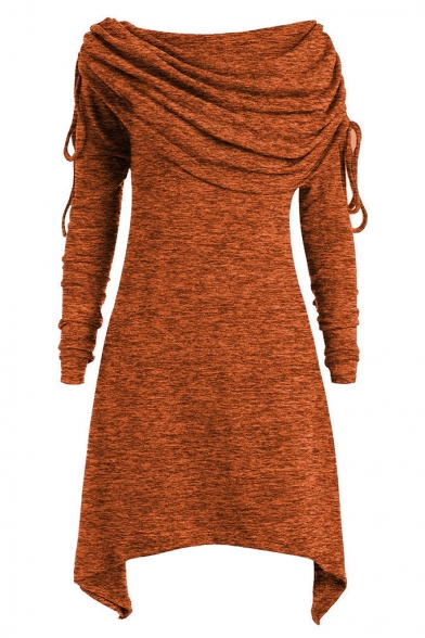 Women's Chic Layered Cowl Neck Long Sleeve Handkerchief Hem Mini A-Line Dress
