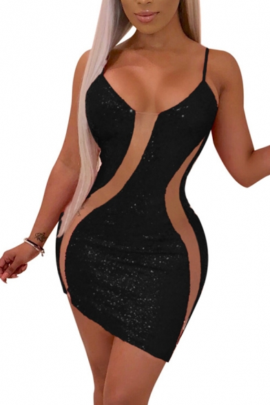 Women's Sexy Sheer Patchwork Sequined Mini Bodycon Slip Dress