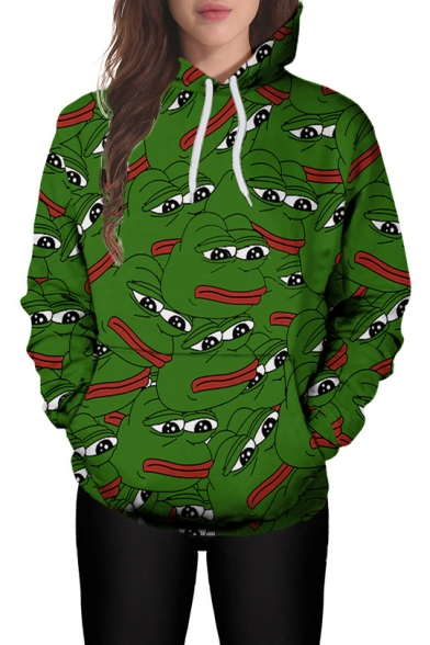 3D All Over Pepe the Frog Printed Long Sleeve Green Sports Unisex Hoodie