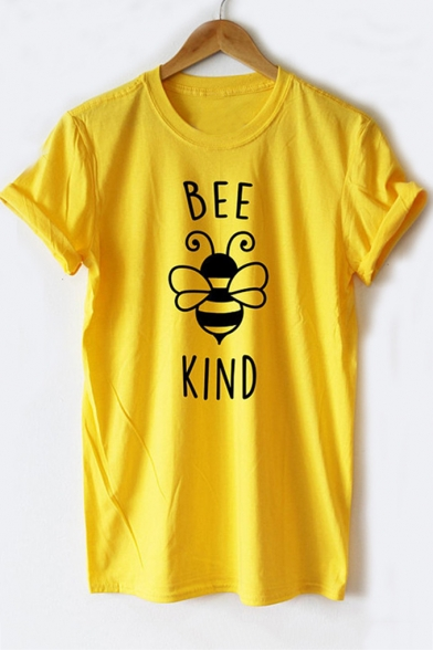 Cartoon Bee Letter Printed Short Sleeve Round Neck Cozy Leisure Tee