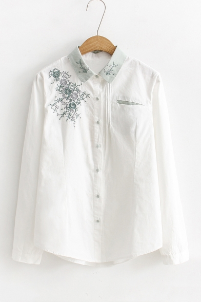 Chic Floral Embroidered Lapel Collar Long Sleeve White Cotton Button Shirt