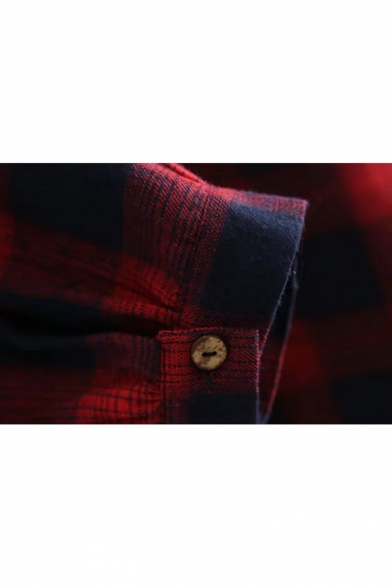 Classic Plaid Peter Pan Collar Long Sleeve Red Loose Blouse Shirt