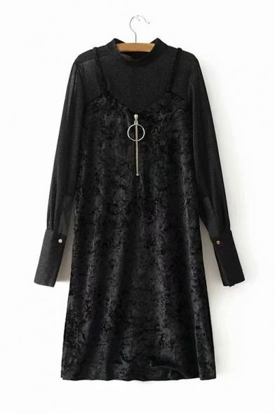 Fake Two Piece Zipper Front Plain Long Sleeve Mock Neck Patchwork Velvet Midi Shift Black Dress