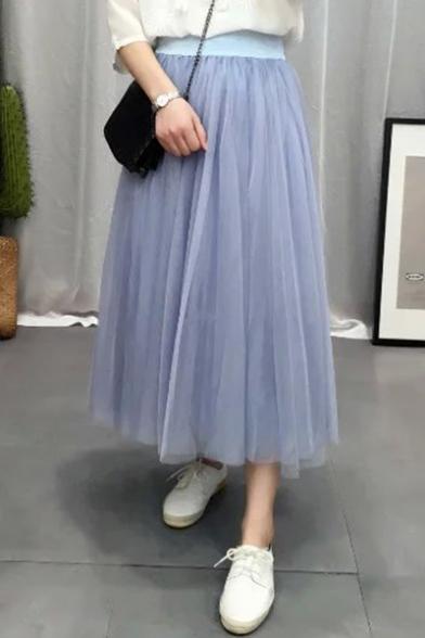 Купить со скидкой Fancy Elastic High Waist Solid Maxi A-Line Pleated Mesh-Gauze Skirt