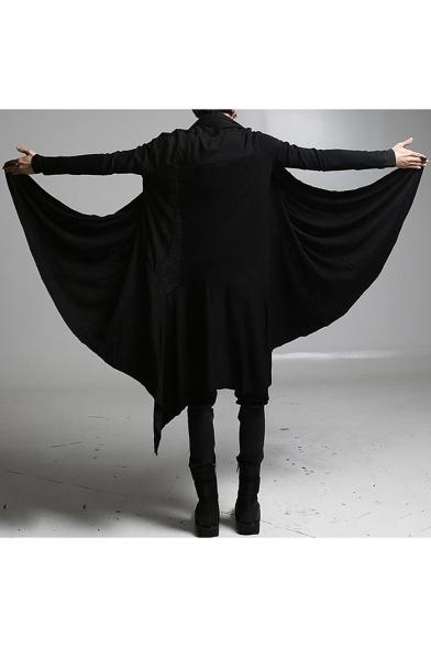 Fashionable Long Sleeve Open Front Plain Black Tunics Coat for Men
