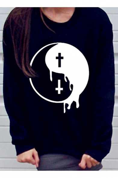 Funny Long Sleeve Round Neck The Eight Trigrams Printed Loose Sweatshirt