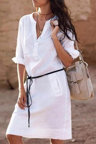 Hot Fashion Long Sleeve V-Neck Tied Waist Solid Basic Mini Shift Shirt Dress