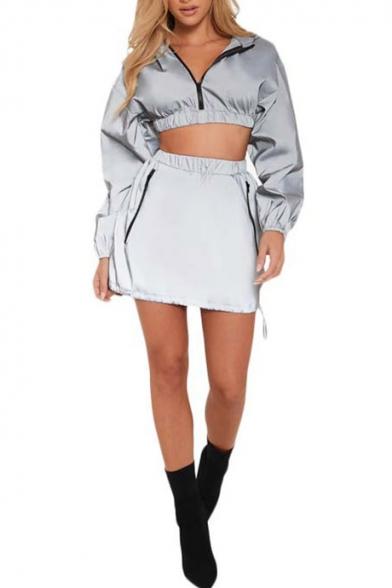 Hot Fashion Long Sleeve Zip Front Elastic Hem Crop Top Mini Skirts Gray Co-ords