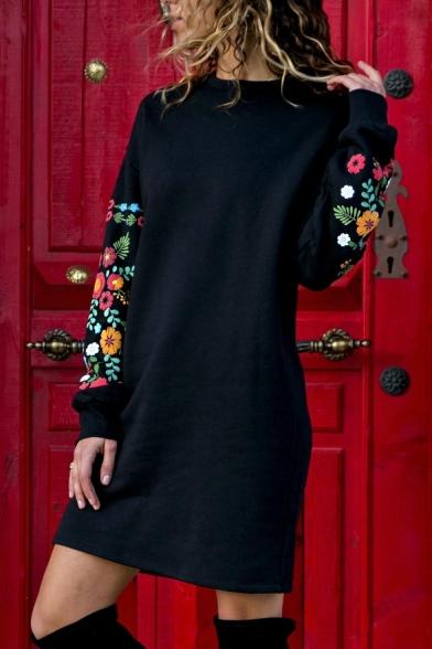 Hot Sale Long Sleeve Mock Neck Floral Printed Shift Mini Dress