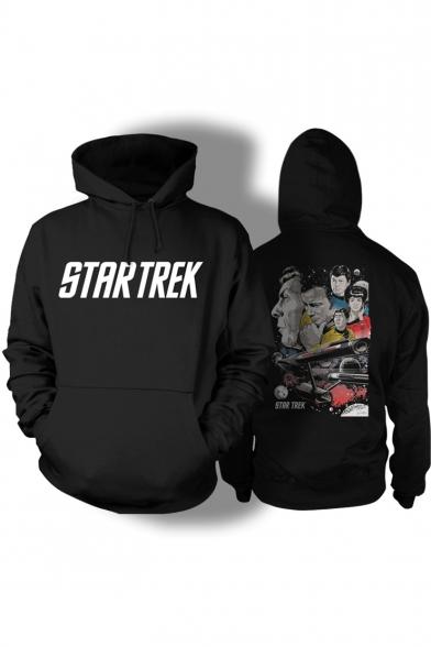 Letter STAR TREK Character Printed Back Long Sleeve Black Hoodie
