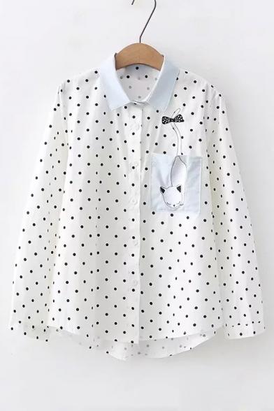 Купить со скидкой Lovely Cartoon Cat Embroidered Pocket Chest Polka Dot Printed Lapel Collar Long Sleeve White Shirt