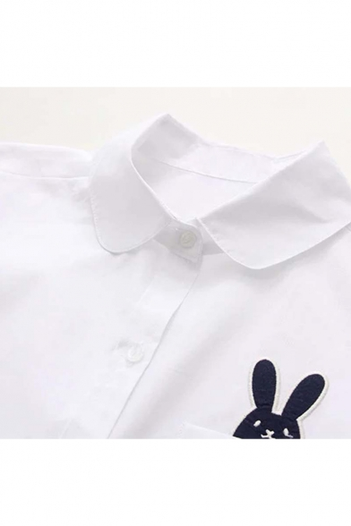 Lovely Cartoon Rabbit Embroidered Pocket Chest Lapel Collar Long Sleeve Loose Shirt