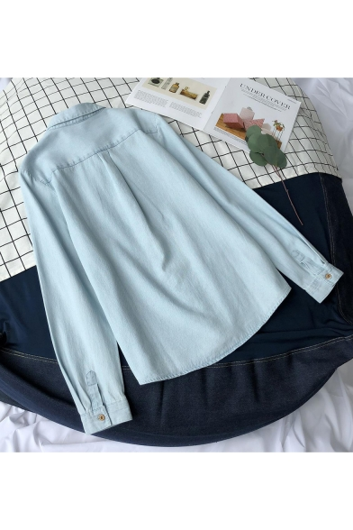 New Arrival Chic Embroidered Long Sleeve Lapel Collar Button Front Blue Chambray Shirt