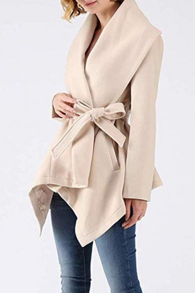 New Arrival Long Sleeve Lapel Collar Plain Asymmetrical Tie Waist Woolen Coat