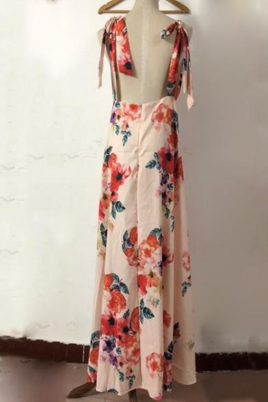 New Stylish Open Back Floral Printed V Neck Sleeveless Maxi Dress