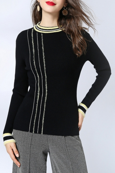Retro Striped Pattern Crewneck Long Sleeve Slim Fit Women's Pullover Sweater, LC497126, Black;blue;pink;apricot
