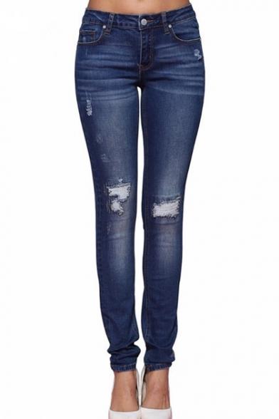 Street Style Mid Waist Ripped Skinny Zipper Fly Blue Jeans