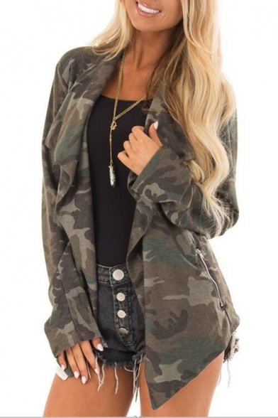 Stylish Long Sleeve Open Front Zip Embellished Camouflage Printed Green Coat