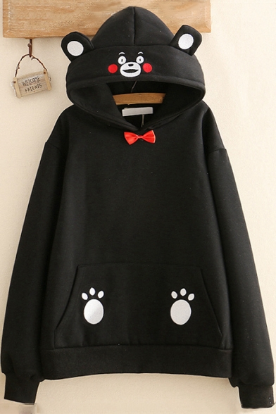 Warm Winter's New Trendy Long Sleeve Cartoon Bear Claw Printed Bow Embellished Hoodie