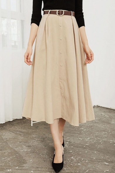 Winter's New Trendy High-Waist Button Down Front Solid Midi A-Line Flared Skirt