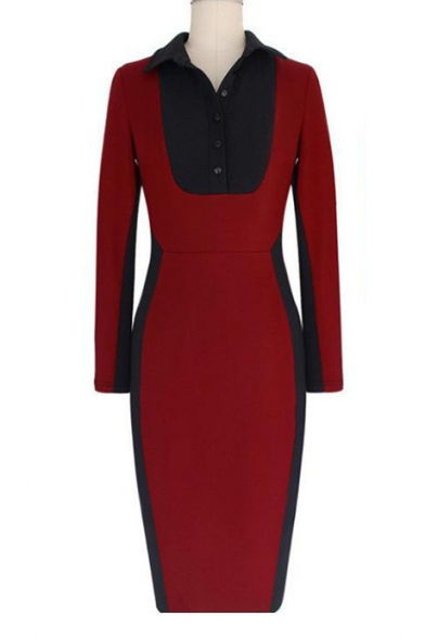 Colorblock Long Sleeve Lapel Collar Button Front Midi Bodycon Red Dress