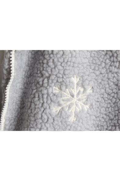 Cute Snowman Heart Printed Long Sleeve Pom Pom Embellished Hooded Coat