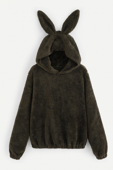 Dark Green Fleece Rabbit Ears Hood Long Sleeve Elastic Waist Women's Hoodie