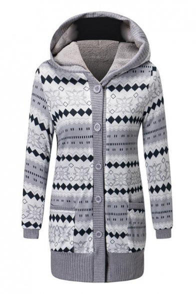 Fashion Tribal Print Button Down Hooded Tunic Coat with Pockets